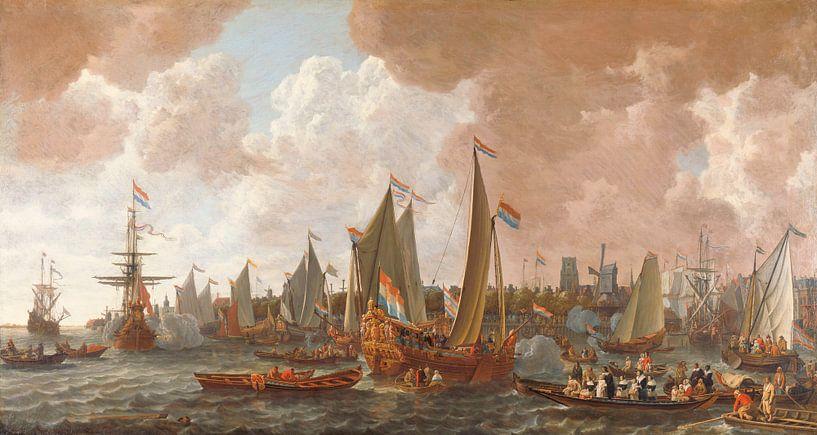 Ankunft von Karl II., König von England, in Rotterdam, Lieve Pietersz. Verschuier von Meesterlijcke Meesters