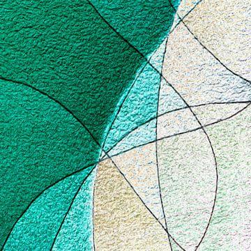 Abstract in groene en beige tinten van Maurice Dawson