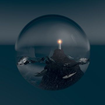 Micro oceaan bij nacht van Jörg Hausmann