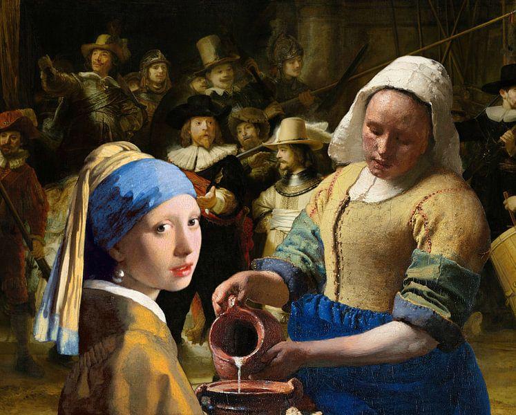 Meisje met de parel - Melkmeisje -  De Nachtwacht 2 van Lia Morcus