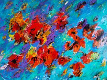 Modern, Abstract Digitaal Kunstwerk in Blauw Oranje Rood van Art By Dominic