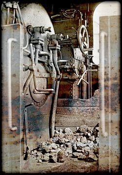 driving cab of an  old steam cog locomotive van Leopold Brix