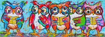 Vrolijke uilen die een liedje zingen van Vrolijk Schilderij