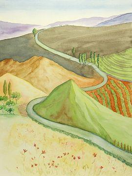 Le paysage vallonné sur Natalie Bruns