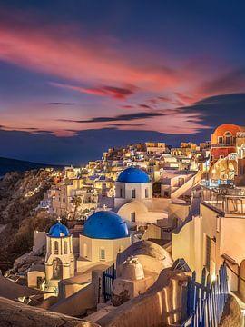 Avond op Santorini in Griekenland van Fine Art Fotografie