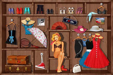 Pin-Up Girl Setzkasten - 50er Jahre