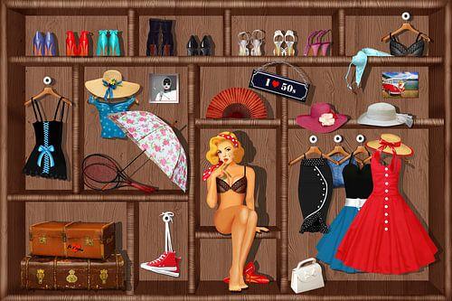 Pin-Up Girl Setzkasten - 60s van Monika Jüngling