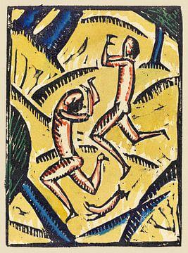 Zwei nackte Tänzerinnen in einer Landschaft, Max Zachmann, 1913