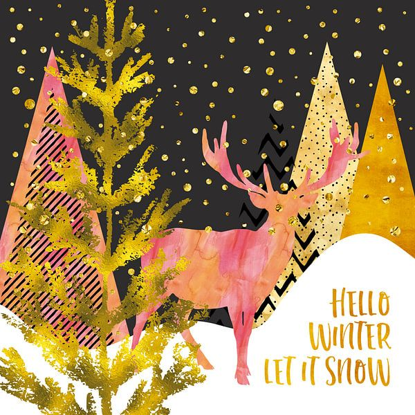 GRAPHIC ART GOLD Hello winter let it snow van Melanie Viola