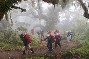 Wanderer am Berg Meru von
