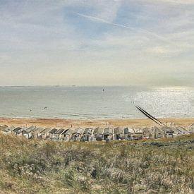 Strandhuisjes bij Dishoek vlakbij Vlissingen in Zeeland - Schilderij van Schildersatelier van der Ven