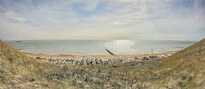 Cabanes de plage à Dishoek près de Flushing en Zélande - Peinture sur Schildersatelier van der Ven