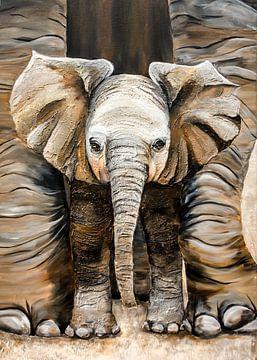 jonge Afrikaanse olifant van Angelique van den Berg