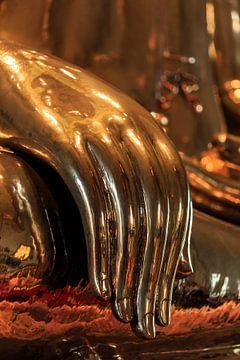Massief gouden Boeddha in wat Traimit, Bangkok, Thailand van Jeroen Langeveld, MrLangeveldPhoto