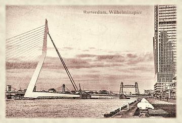 Carte postale d'époque: le Pont Erasmus sur Frans Blok