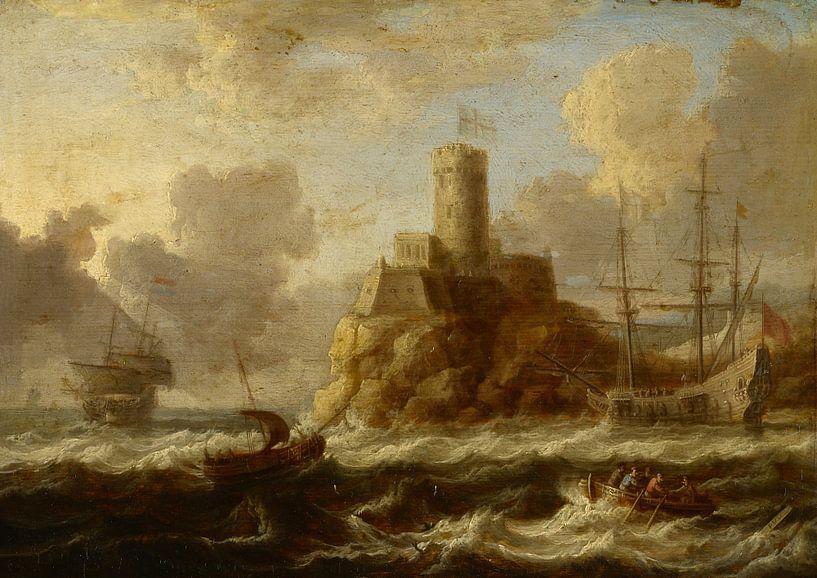 Küstenfestung mit stürmischer See, Peter van de Velde von Meesterlijcke Meesters