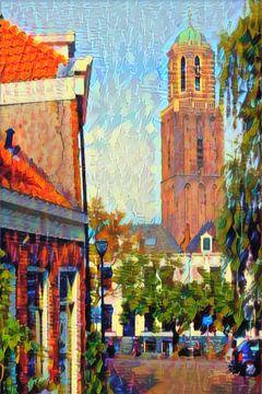 Kleurrijk Schilderij Zwolle Uitzicht op Peperbus