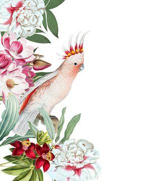 Vintage tropische vogel in bloem Jungle van Uta Naumann