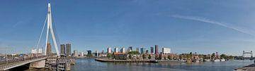 Skyline von Rotterdam in Nordinsel und drei Brücken. von Hille Bouma