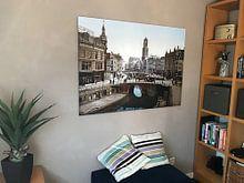 Klantfoto: Oude Gracht en Bakkerbrug, Utrecht van Vintage Afbeeldingen, op aluminium