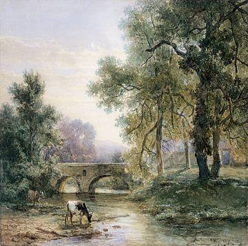 Boomrijk landschap met stenen brug over een rivier, Willem Roelofs (I)