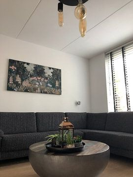 Klantfoto: Prachtige botanische afbeelding van jungle met varens en bloemen van Studio POPPY