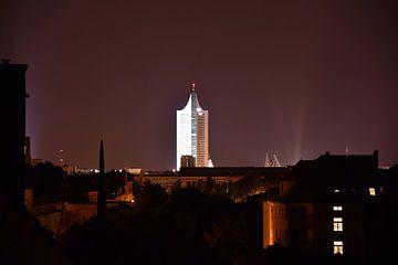 Leipzig Skyline in de Nacht van Marcel Ethner