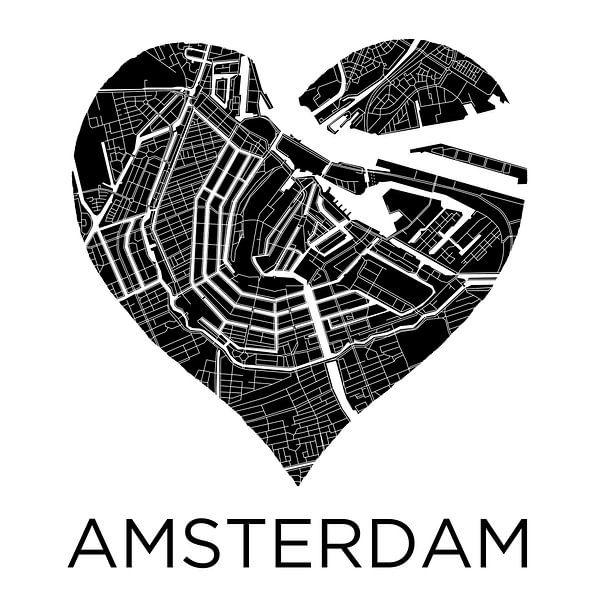 Liefde voor Amsterdam ZwartWit  |  Stadskaart in een hart van Wereldkaarten.Shop