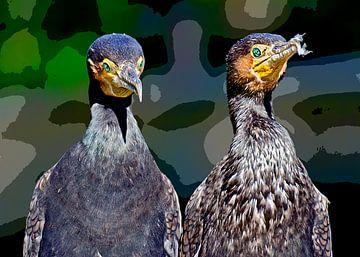Cormorants van Leopold Brix