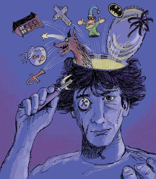 Portret van Neil Gaiman van Marq van Broekhoven