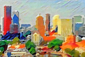 Schilderij Abstracte Skyline Rotterdam