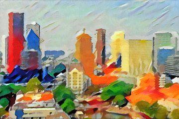 Schilderij Abstracte Skyline Rotterdam van Slimme Kunst.nl