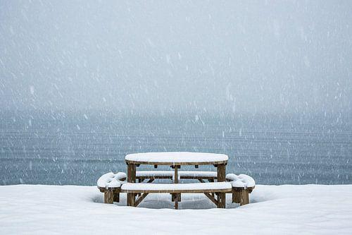 Picnic tafel in een sneeuwbui - Vesteralen, Noorwegen