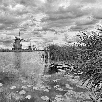 Nederlandse landschap met een kanaal en windmills_1 van Tony Vingerhoets
