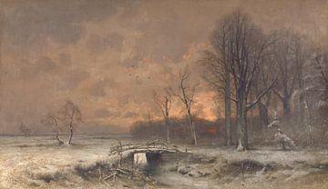 Winterlandschaft mit untergehender Sonne zwischen Bäumen, Louis Apol
