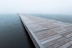 Pier in de mist, Houthavens, Amsterdam