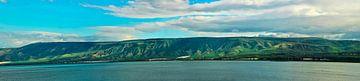 Les hauteurs du Golan et le panorama du lac de Tibérie où l'on peut voir les collines vertes, le cie sur Michael Semenov