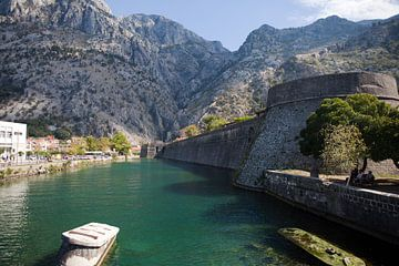 Gezicht op de vestingmuur en de Kampana toren in Kotor (Montenegro) van t.ART