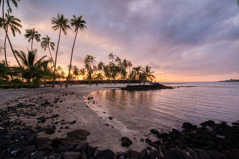 zonsondergang in Hawaii van Jim De Sitter