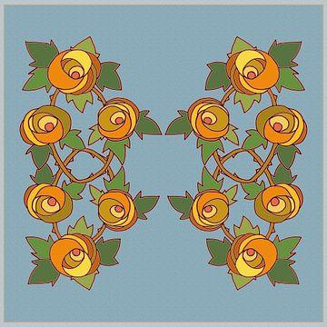 Les Roses dessin 1 sur Marijke Mulder