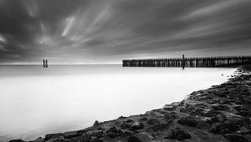 Zwartwit kustlandschap van Cathy Roels
