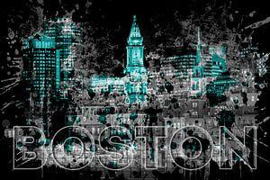 Pop Art BOSTON Skyline | türkis
