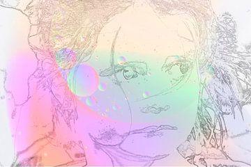 Roze gekleurd gezicht van Ans Bastiaanssen