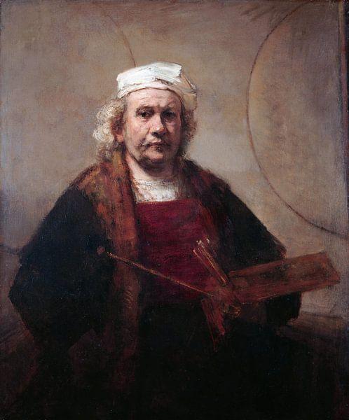 Zelfportret met twee cirkels, Rembrandt van Rijn van Rembrandt van Rijn
