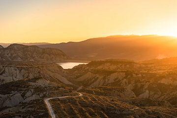 Spanische Kreidelandschaft mit Sonnenuntergang von Axel Weidner