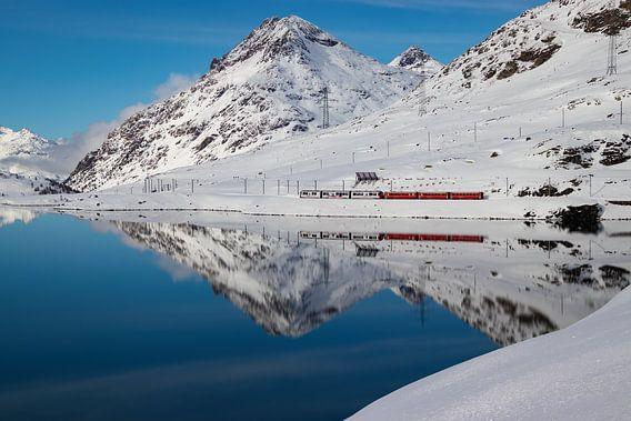 Trein in Winters Berglandschap op de Berninapas