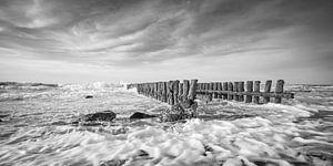 Paalhoofden op een stormachtige dag in Zeeland van Michel Seelen