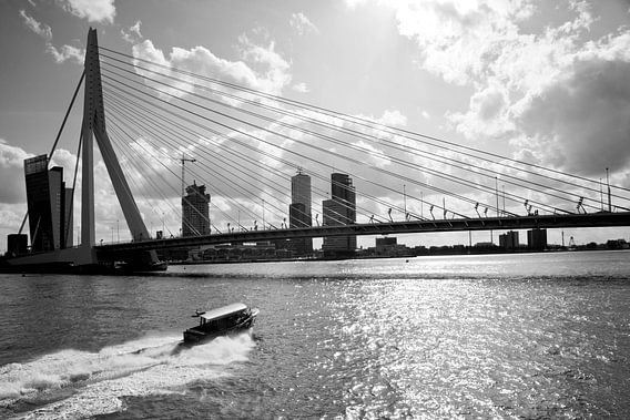 Erasmusbrug met watertaxi van Pieter van Roijen