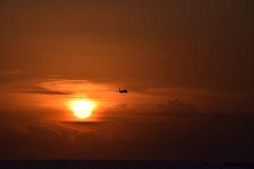 Vliegtuig tijdens een dieprode zonsondergang von Chantal Schutte