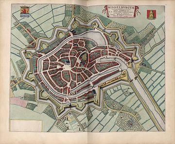 Middelburg Zeeland, Stadsplattegrond Joan Blaeu 1652 van Atelier Liesjes